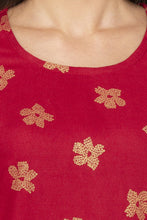 Load image into Gallery viewer, Printed Mock Side Placket Red Kurta-5