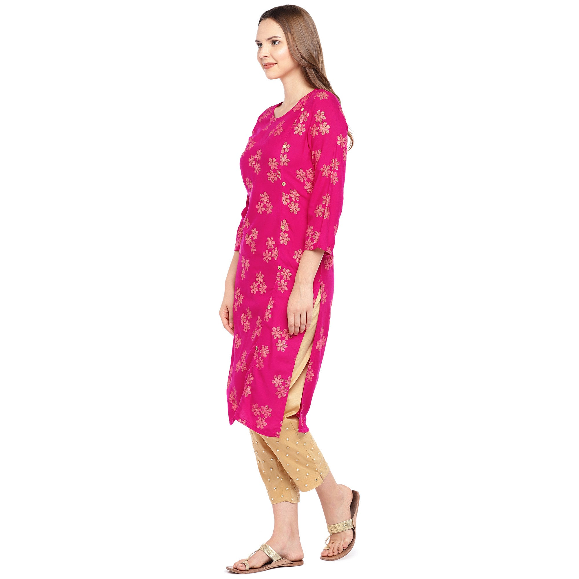 Women Pink Printed Straight Kurta-2