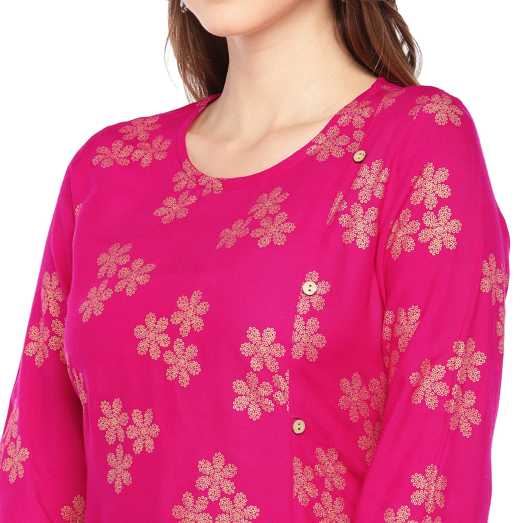 Women Pink Printed Straight Kurta-5