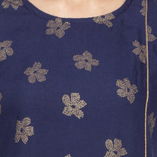 Load image into Gallery viewer, Casual Navy Blue Color Straight Printed Regular Kurtas-5
