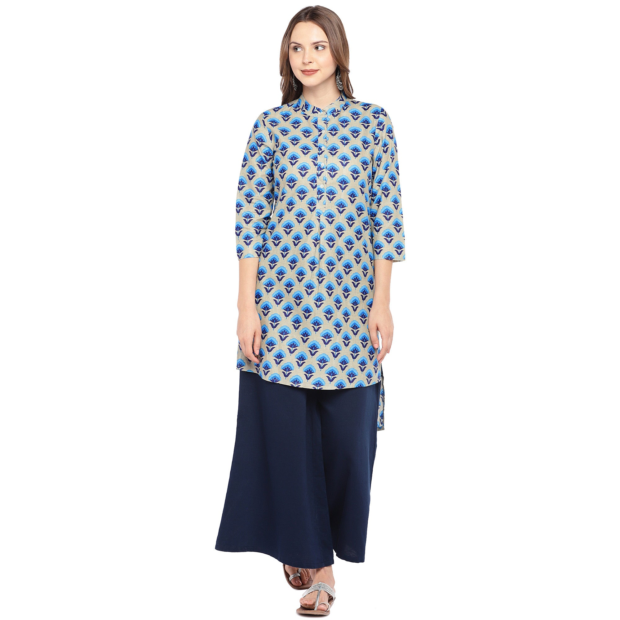 Women Blue Printed Straight Kurta-1