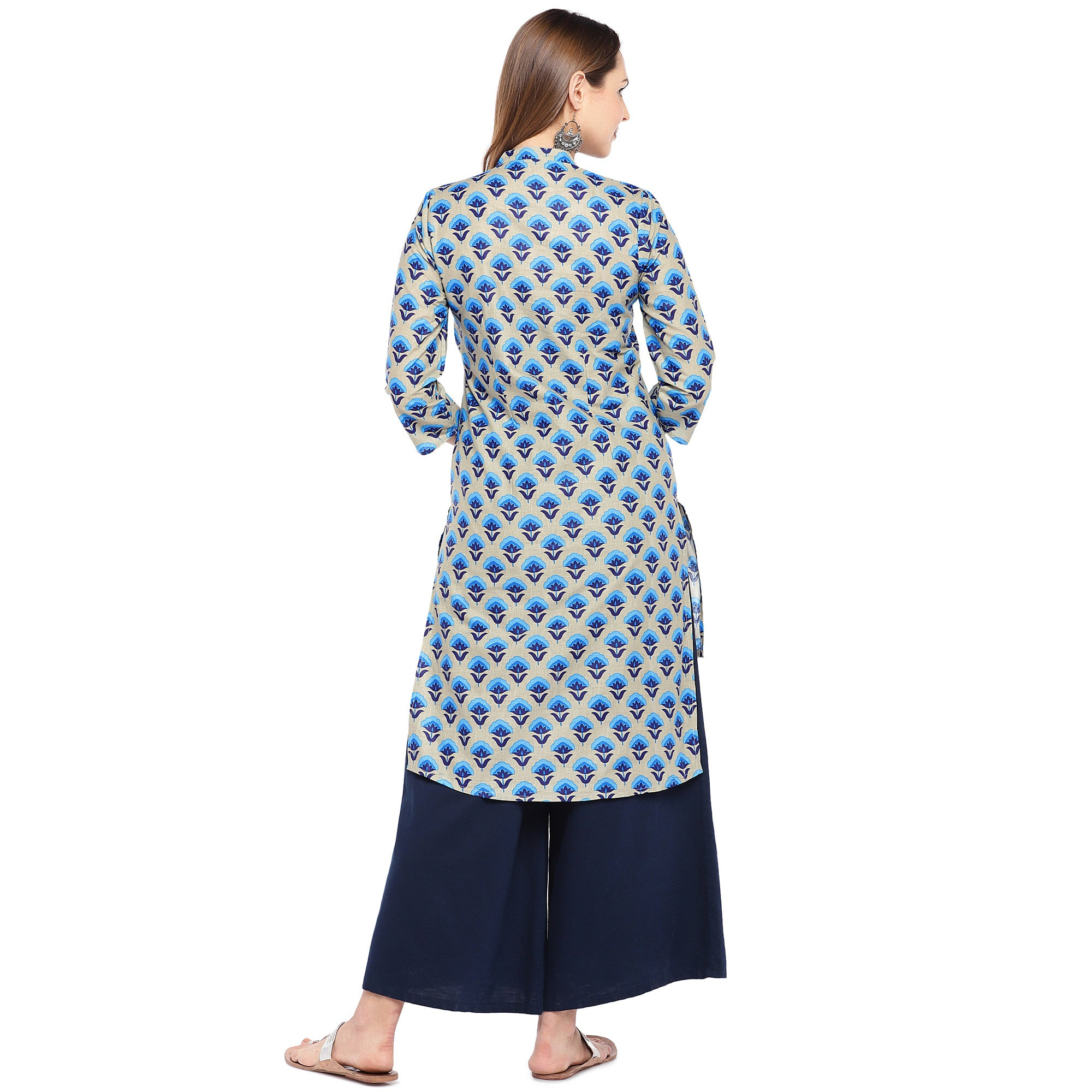 Women Blue Printed Straight Kurta-3