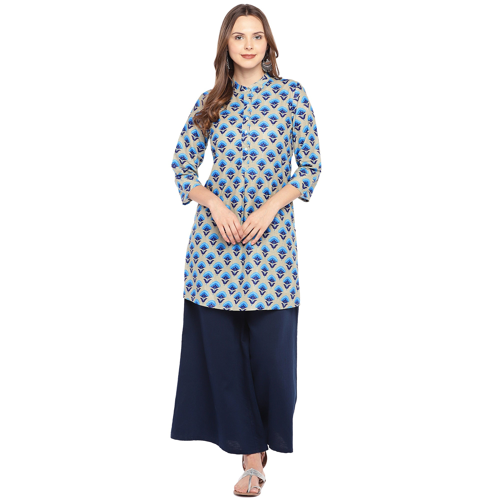 Women Blue Printed Straight Kurta-4