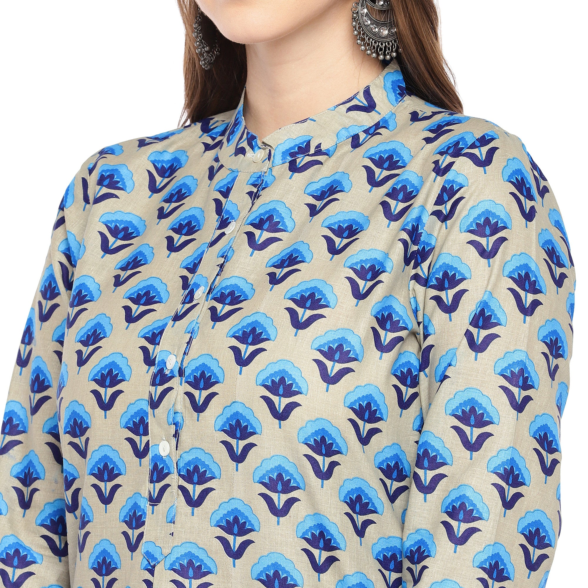 Women Blue Printed Straight Kurta-5
