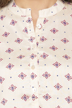 Load image into Gallery viewer, Printed Mandarin Collar Ecru Kurta-5