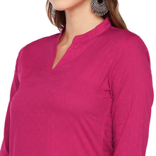 Load image into Gallery viewer, Women Pink Woven Design Straight Kurta-5