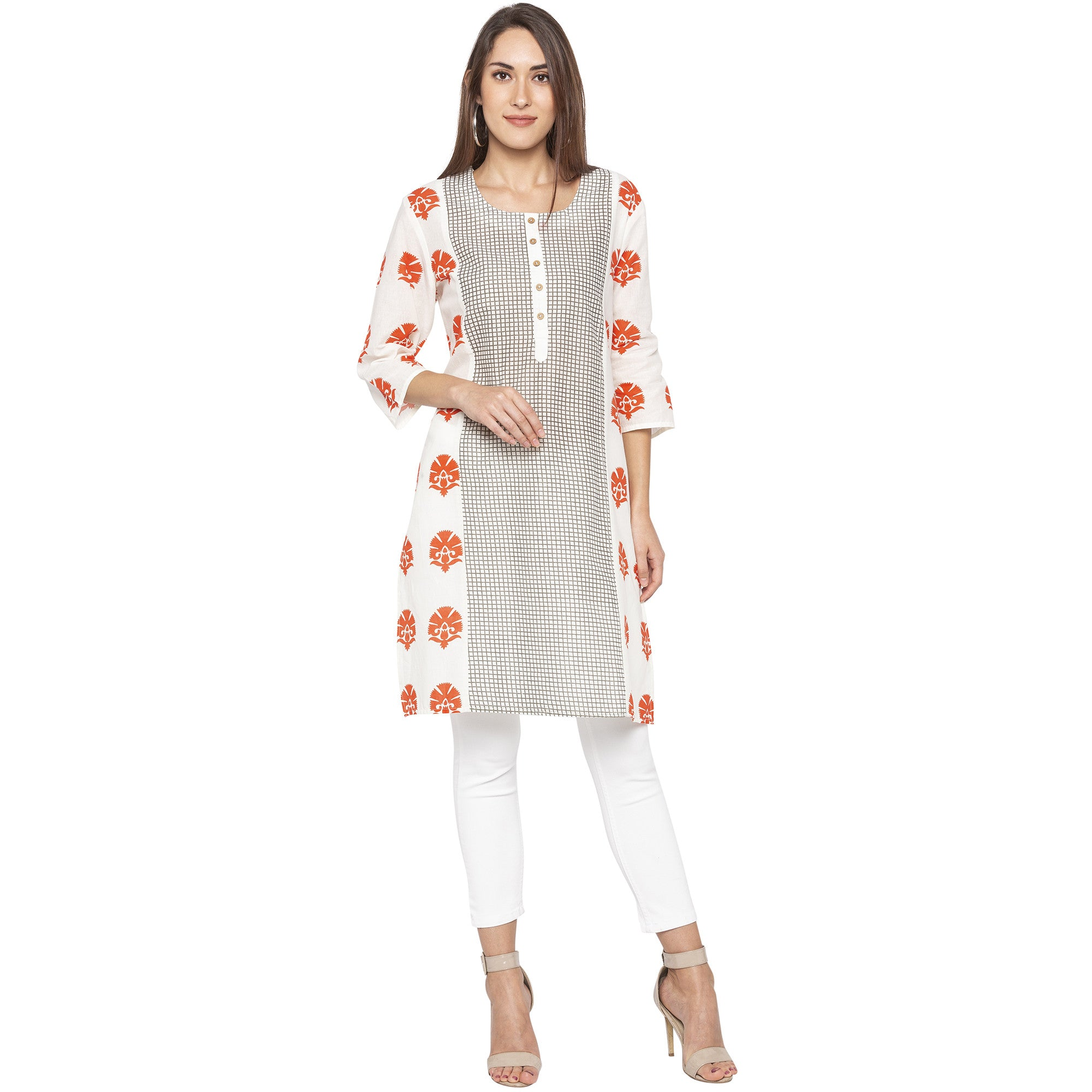 Casual Off White Color Straight Printed Regular Kurtas-1