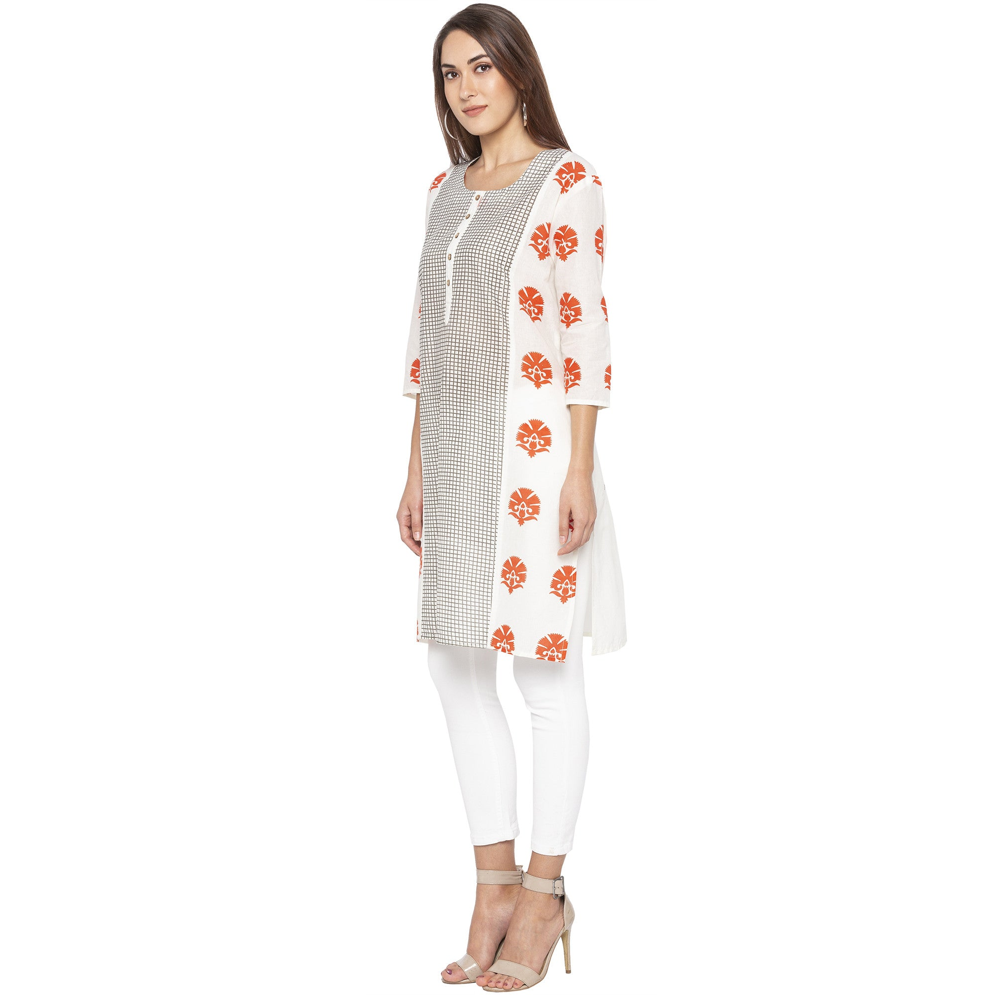 Casual Off White Color Straight Printed Regular Kurtas-2