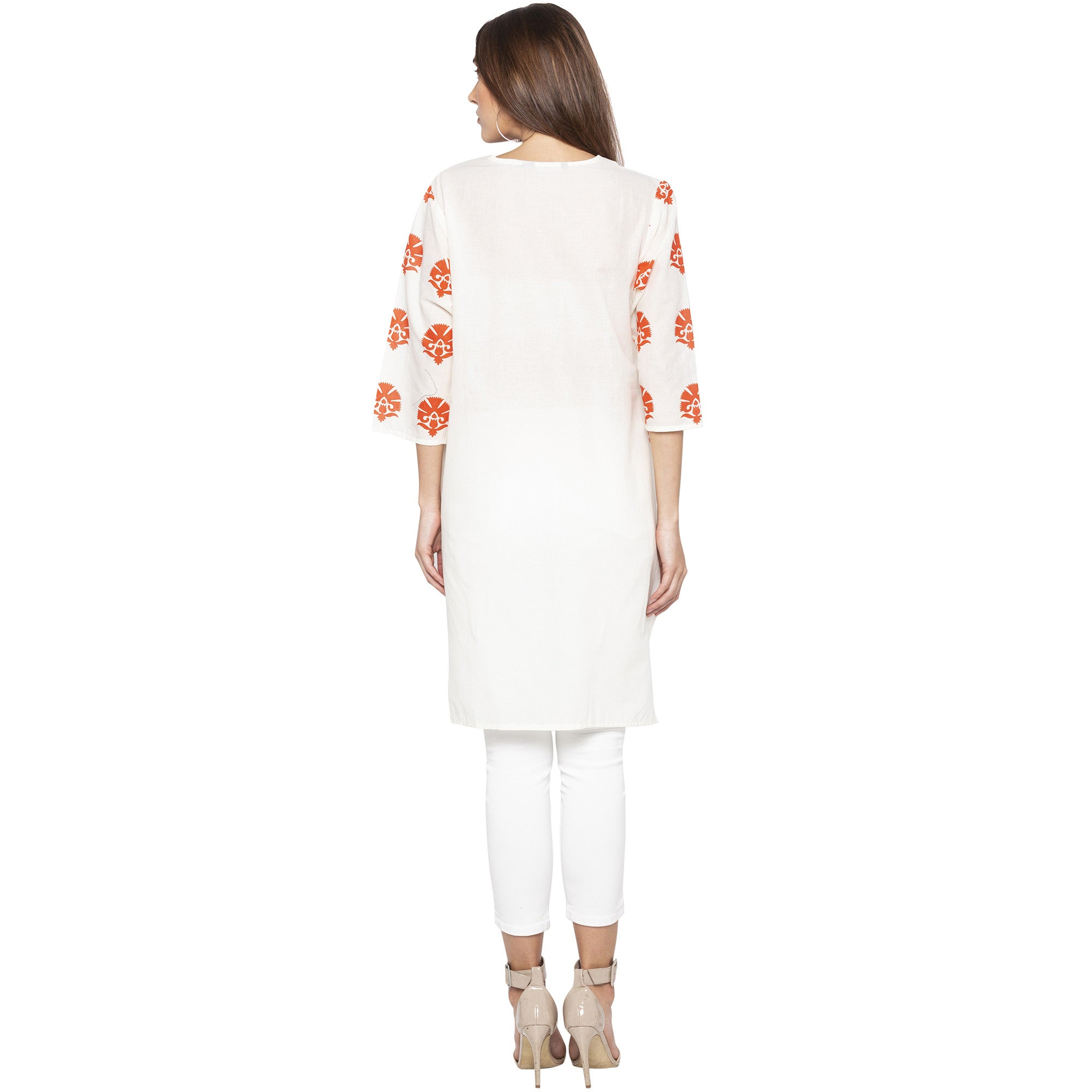 Casual Off White Color Straight Printed Regular Kurtas-3