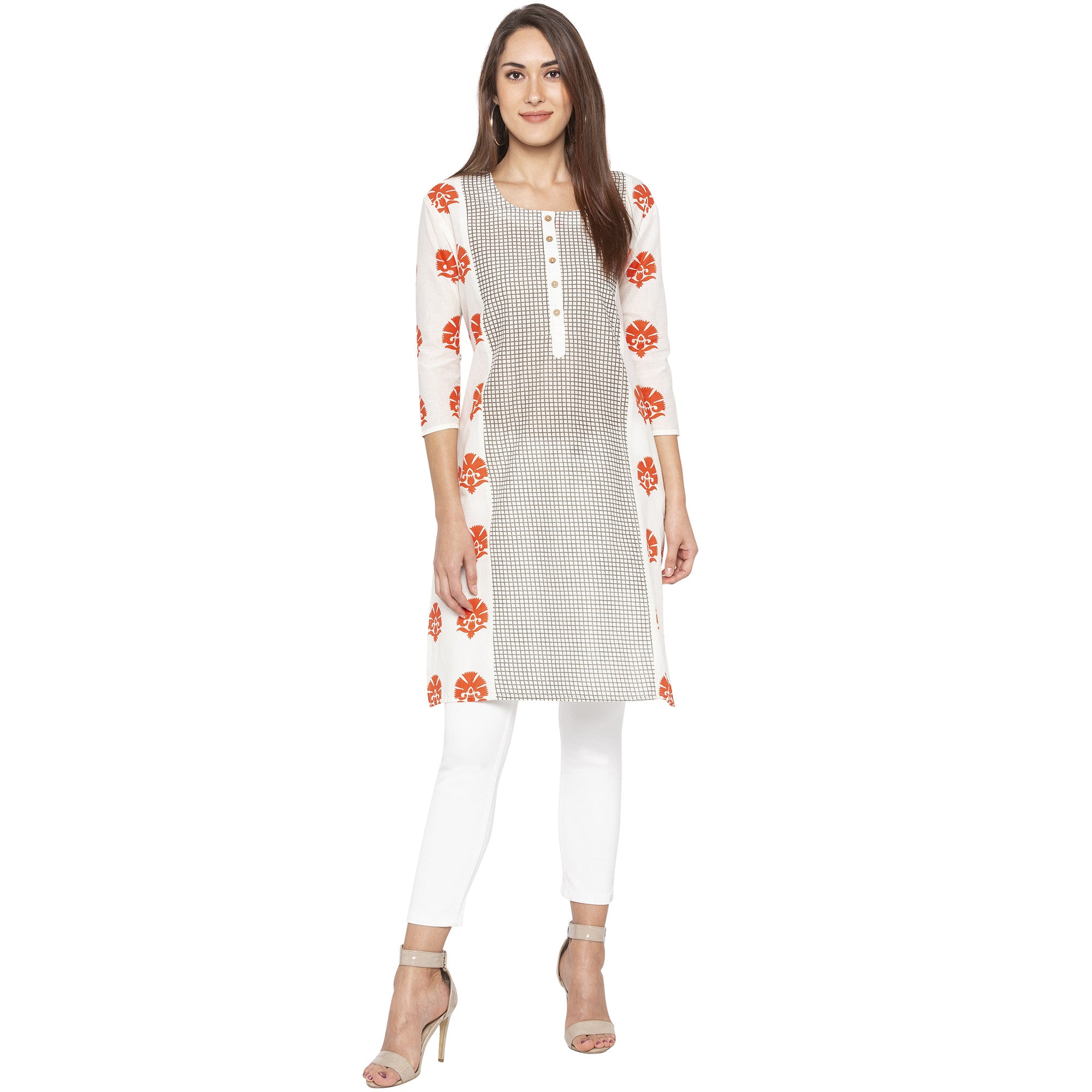 Casual Off White Color Straight Printed Regular Kurtas-4