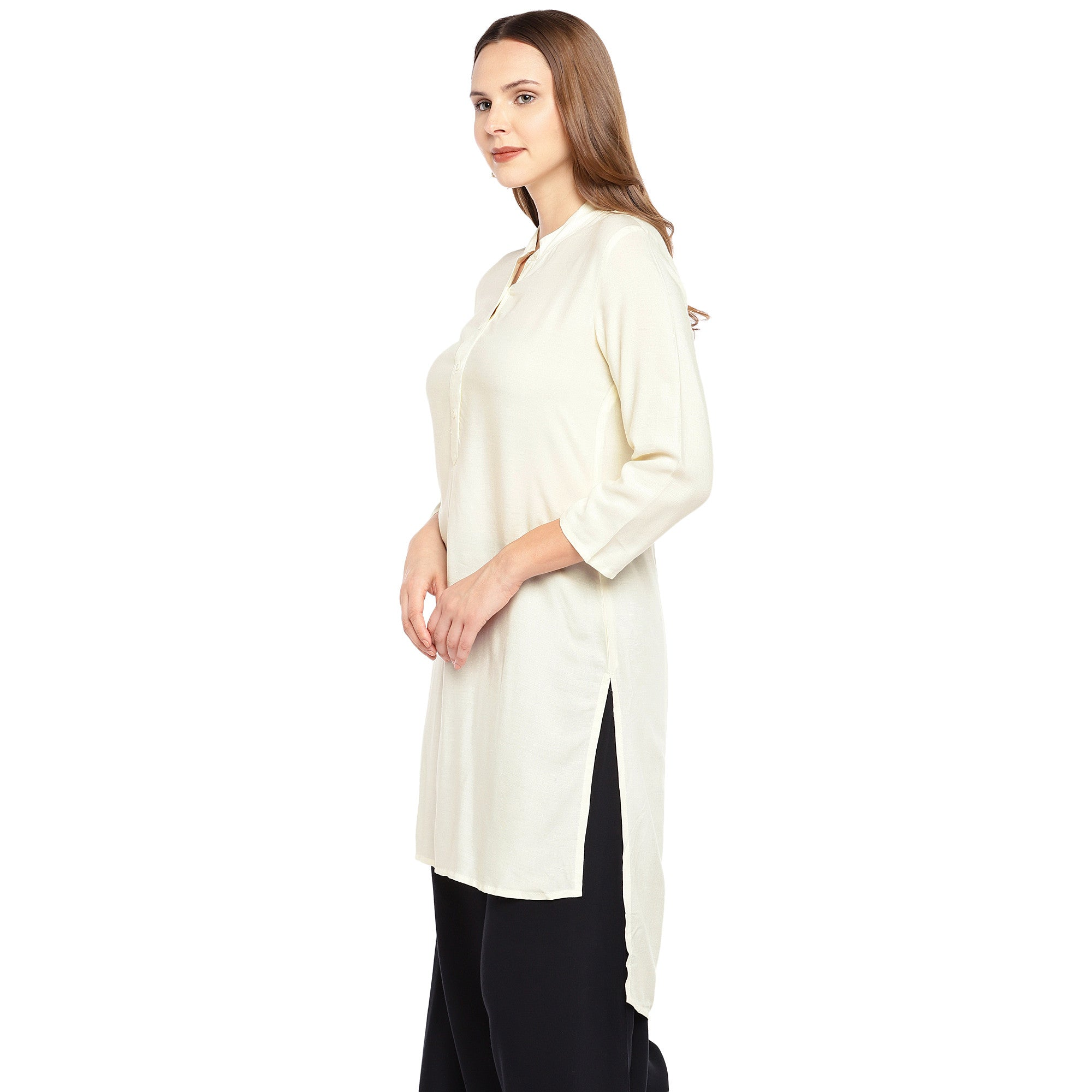 Women Beige Solid Straight Kurta-2