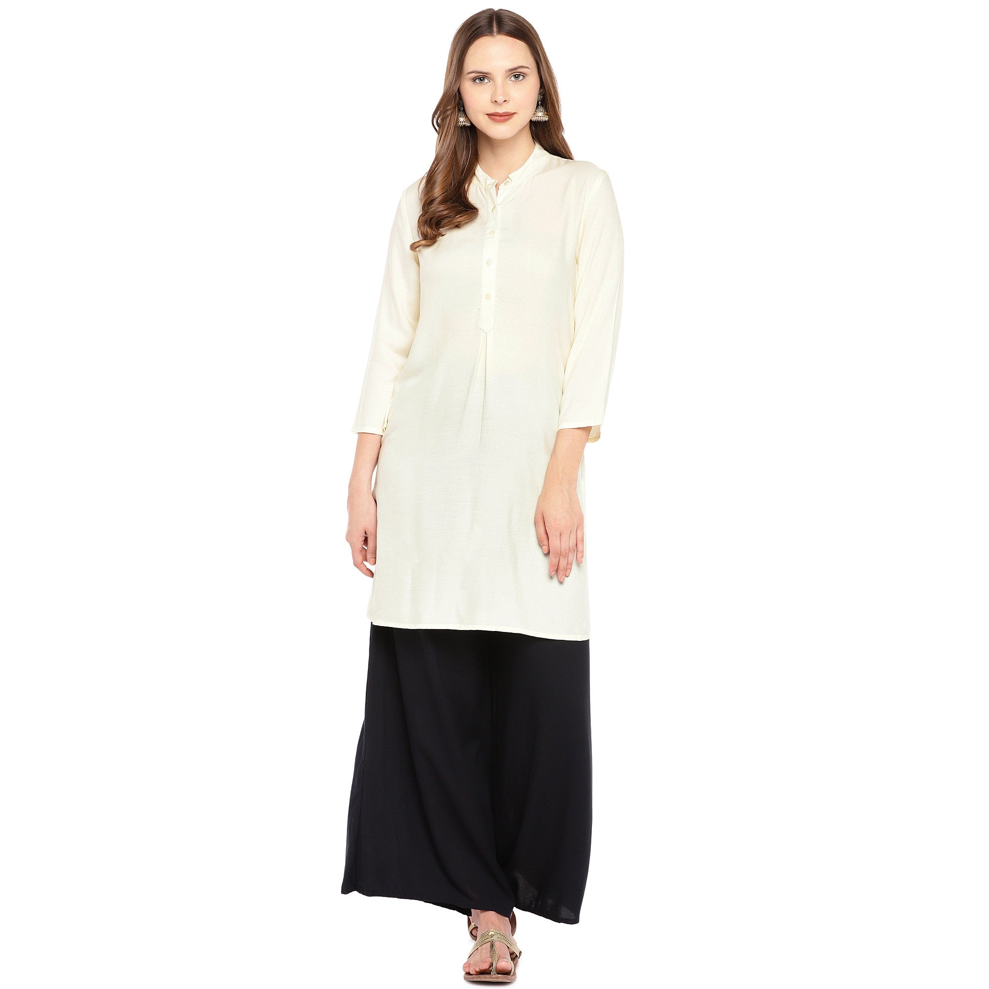 Women Beige Solid Straight Kurta-4