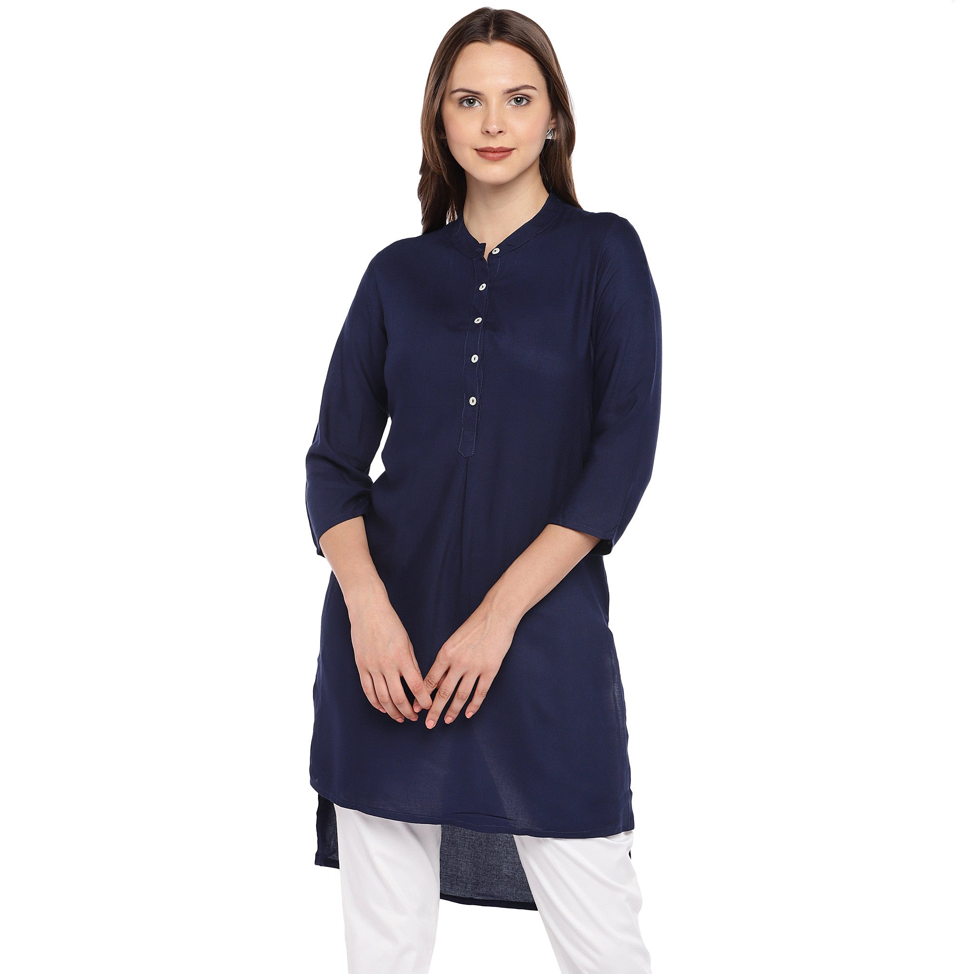 Women Navy Blue Solid Straight Kurta-1