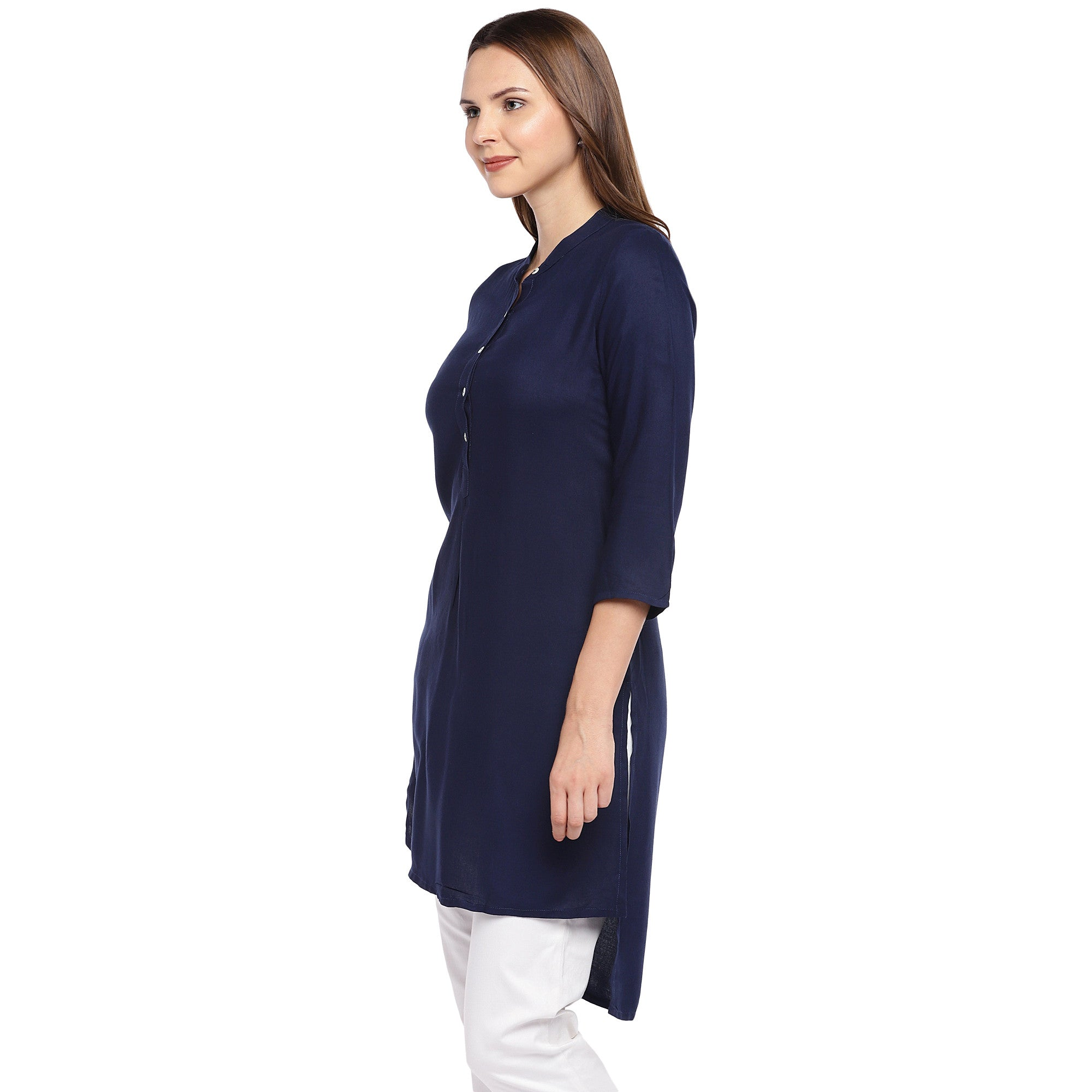 Women Navy Blue Solid Straight Kurta-2