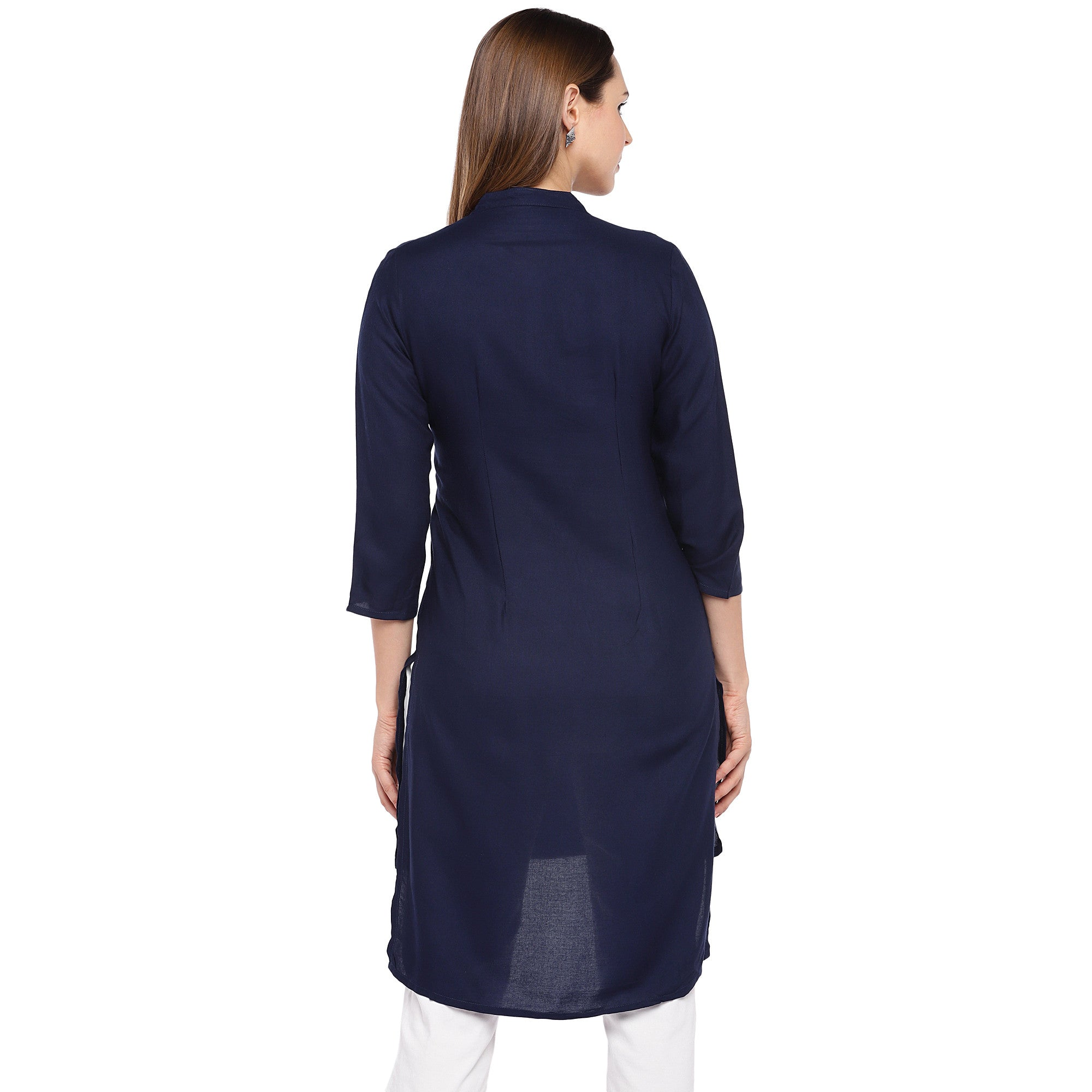 Women Navy Blue Solid Straight Kurta-3