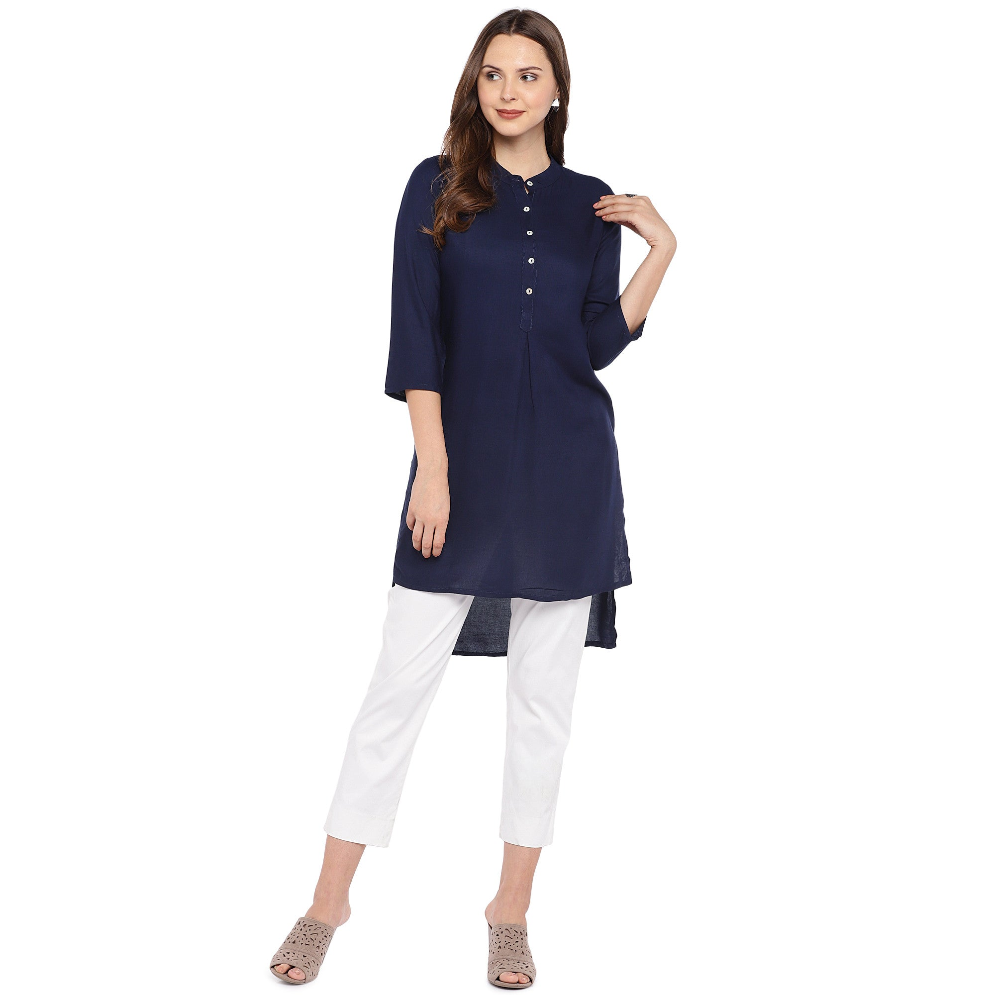 Women Navy Blue Solid Straight Kurta-4