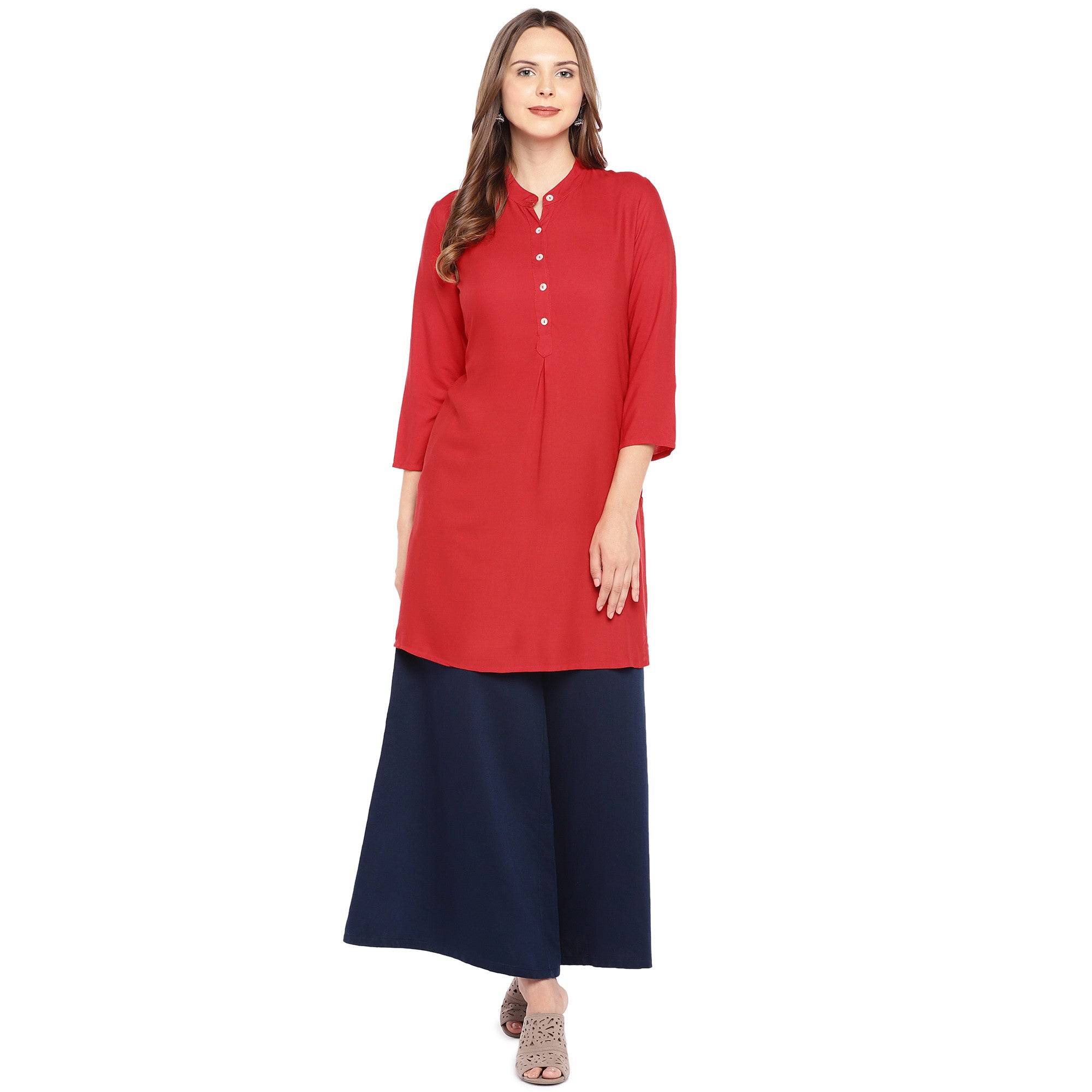 Women Red Solid Straight Kurta-1