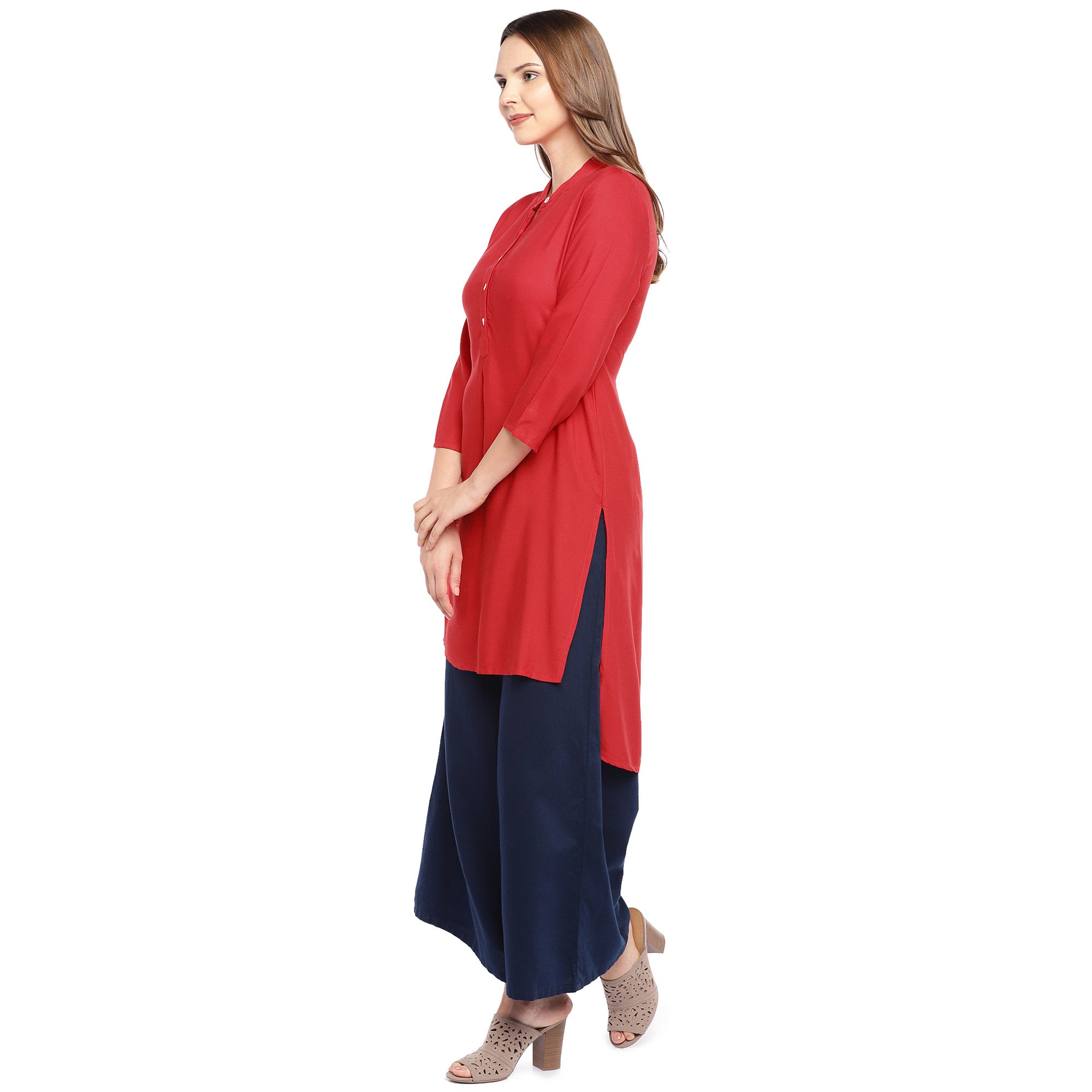 Women Red Solid Straight Kurta-2