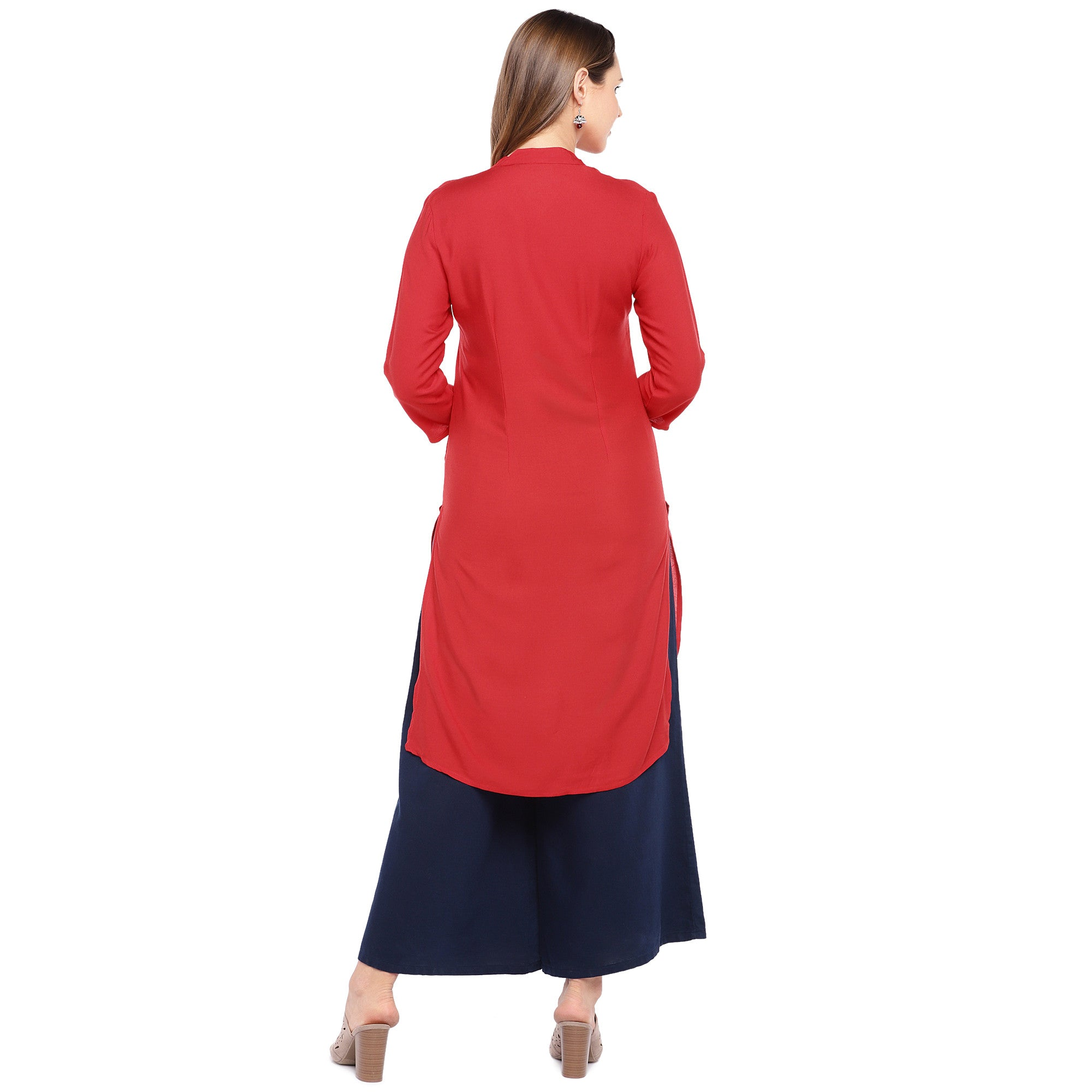 Women Red Solid Straight Kurta-3