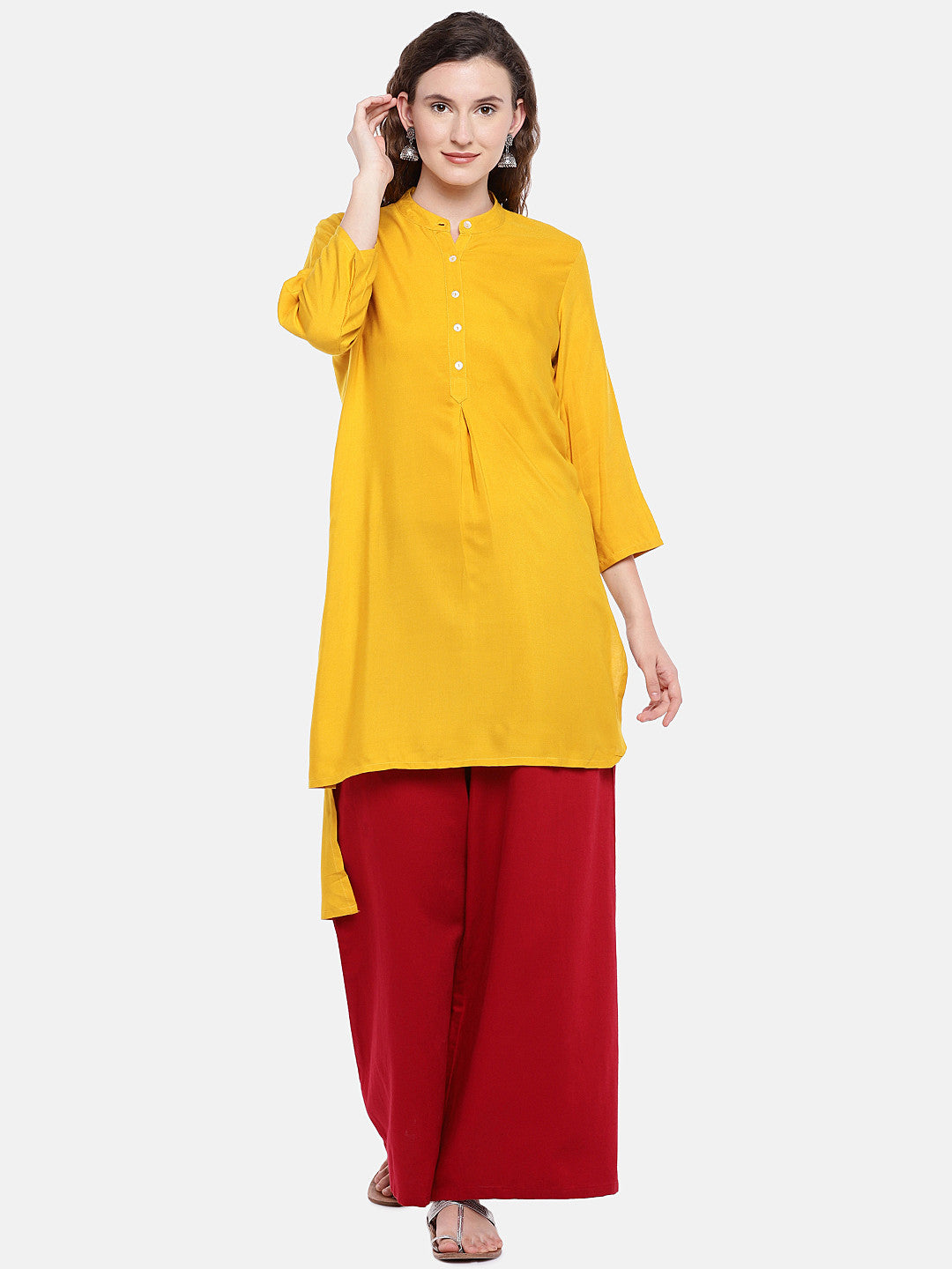 Women Yellow Solid A-Line Kurta-1