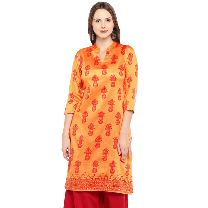 Women Orange Printed A-Line Kurta-1