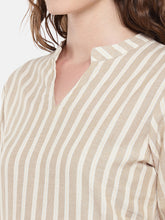 Load image into Gallery viewer, Women Beige Striped Straight Kurta-5