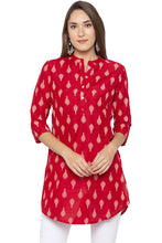 Load image into Gallery viewer, Mandarin Collar Curved Hem Red Kurta-1