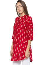Load image into Gallery viewer, Mandarin Collar Curved Hem Red Kurta-4