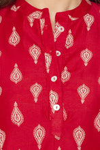 Load image into Gallery viewer, Mandarin Collar Curved Hem Red Kurta-5