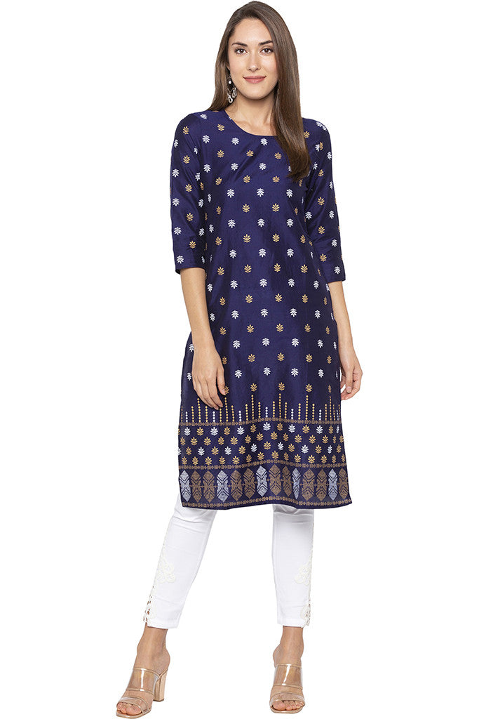 Butti Print Navy Blue Kurta-2