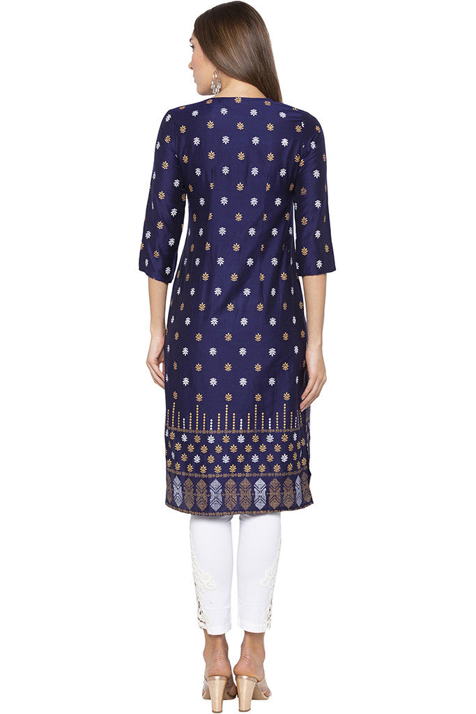 Butti Print Navy Blue Kurta-3