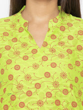 Load image into Gallery viewer, Printed Green A-Line Kurtas-5