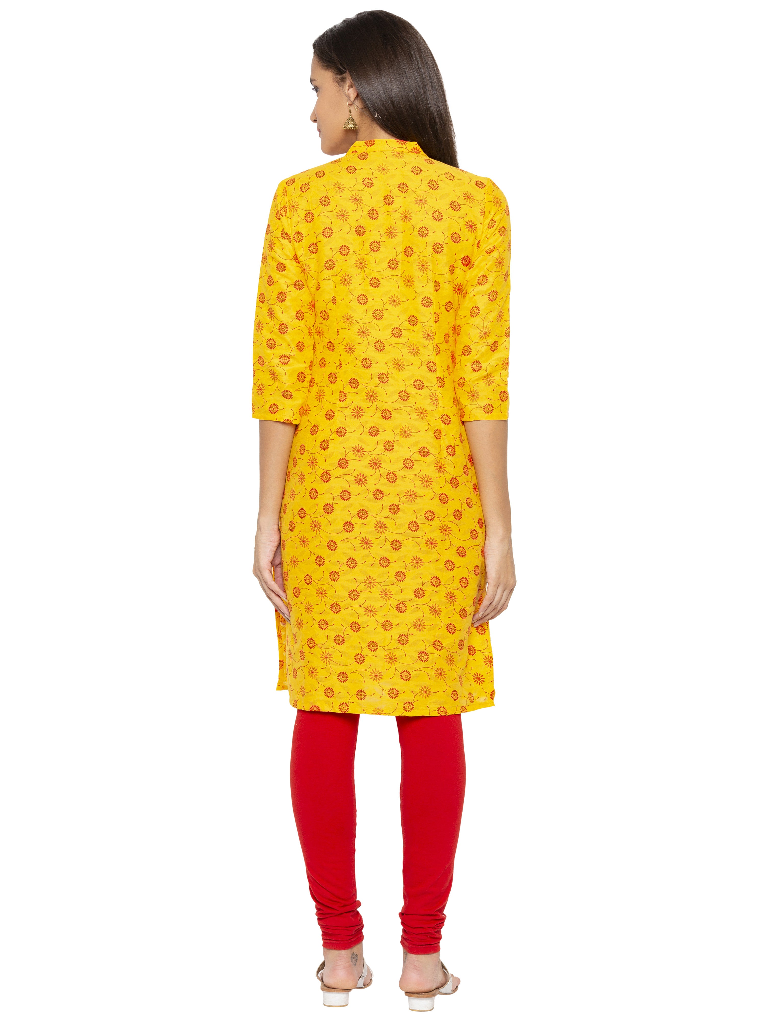 Printed Yellow A-Line Kurtas-3