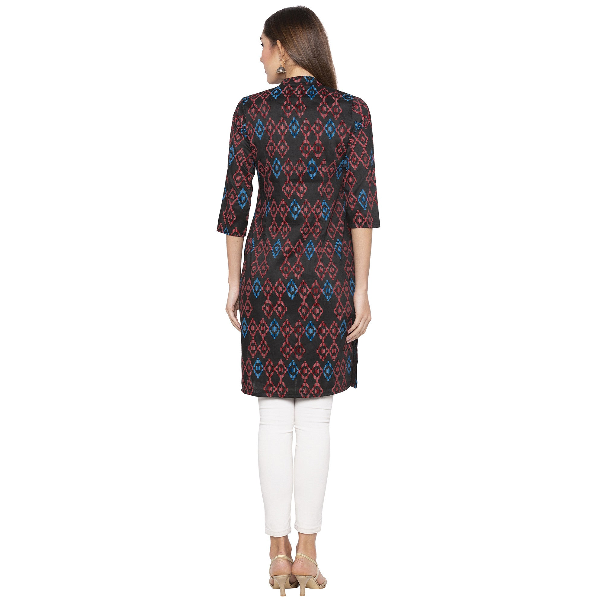 Casual Black Color Straight Printed Regular Kurtas-3