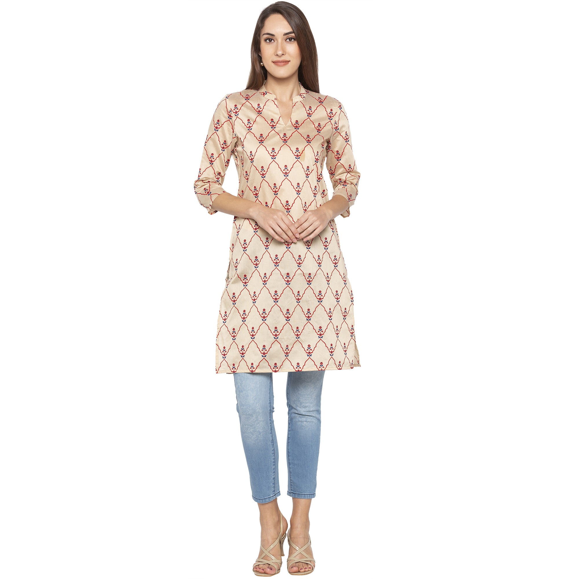 Casual Beige Color Straight Embroidered Regular Kurtas-1
