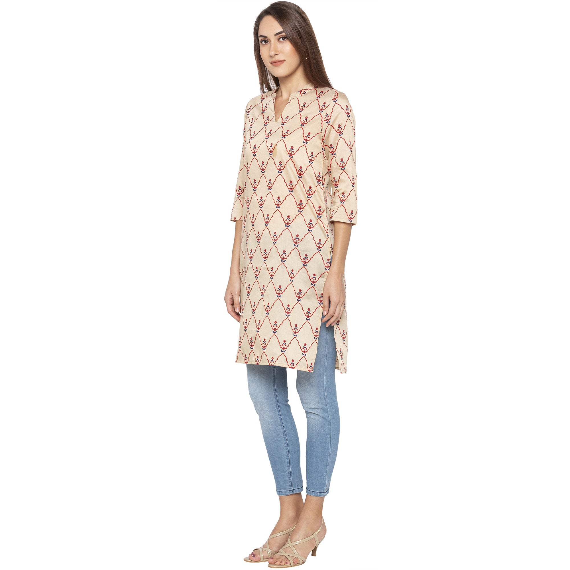 Casual Beige Color Straight Embroidered Regular Kurtas-2