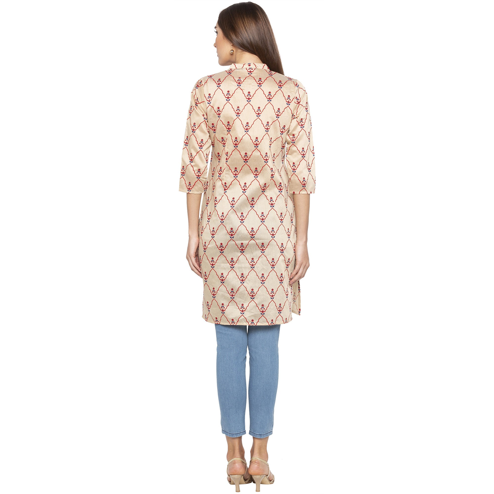 Casual Beige Color Straight Embroidered Regular Kurtas-3