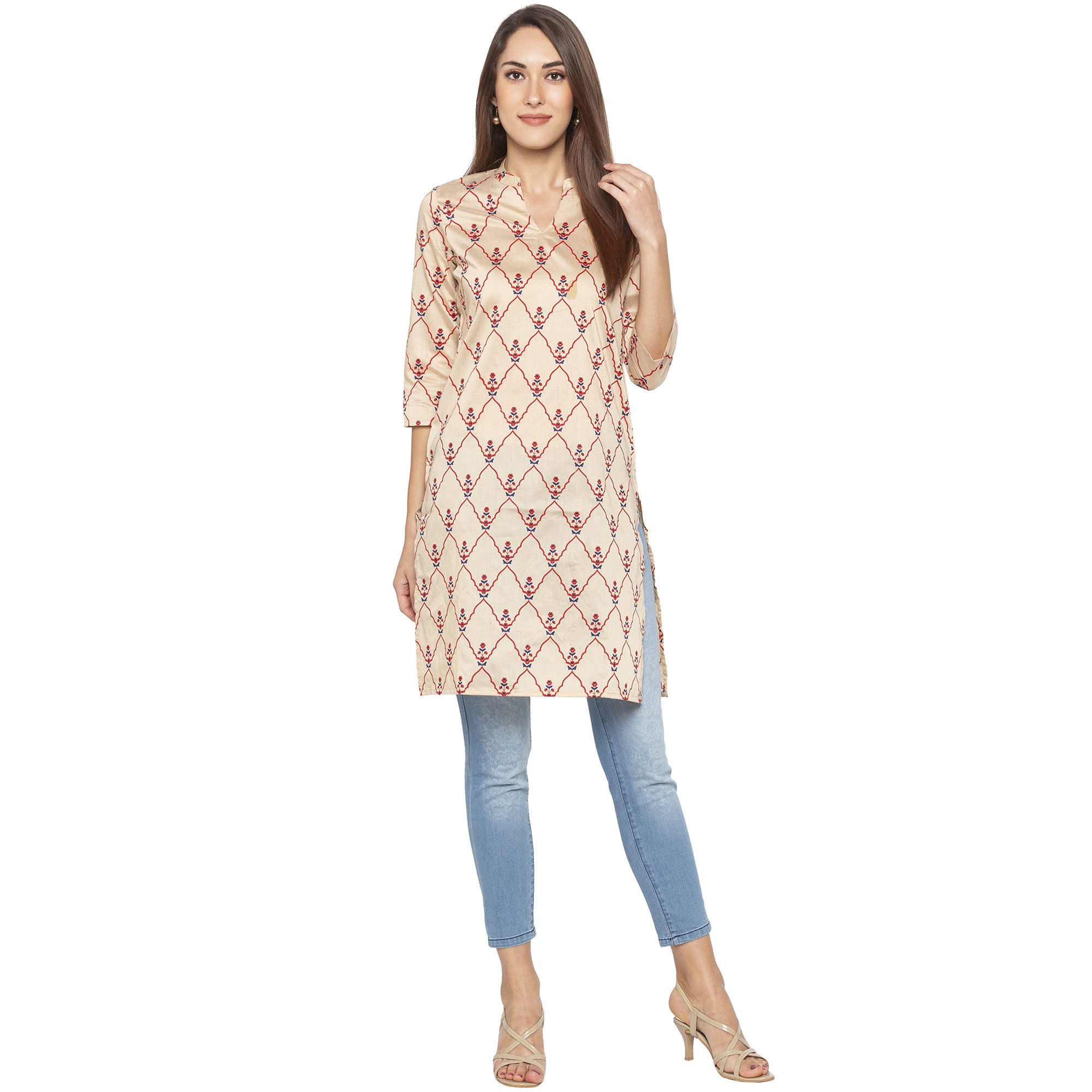 Casual Beige Color Straight Embroidered Regular Kurtas-4