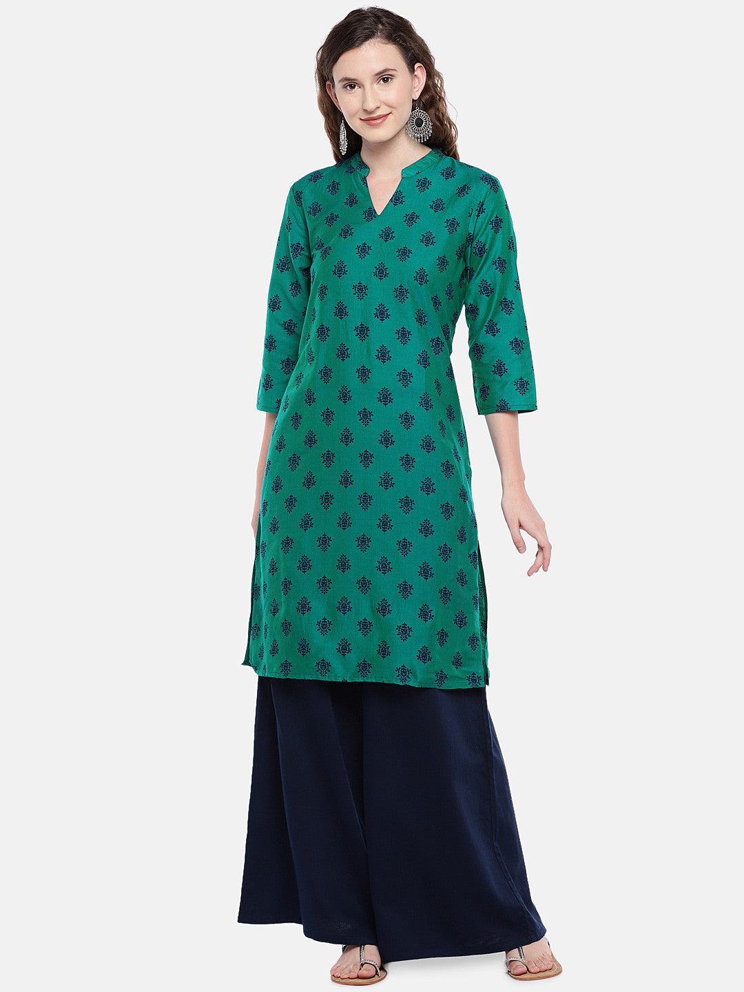 Women Green Printed Straight Kurta-1