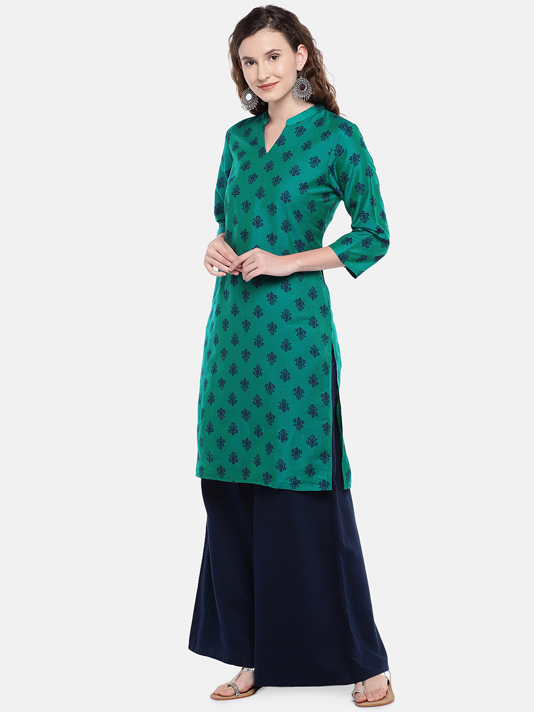 Women Green Printed Straight Kurta-2