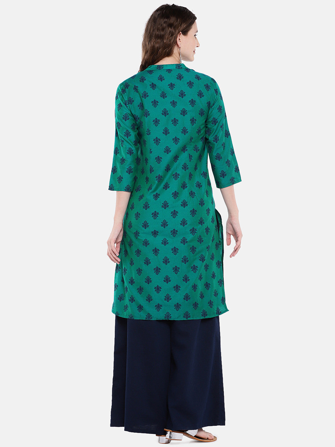 Women Green Printed Straight Kurta-3