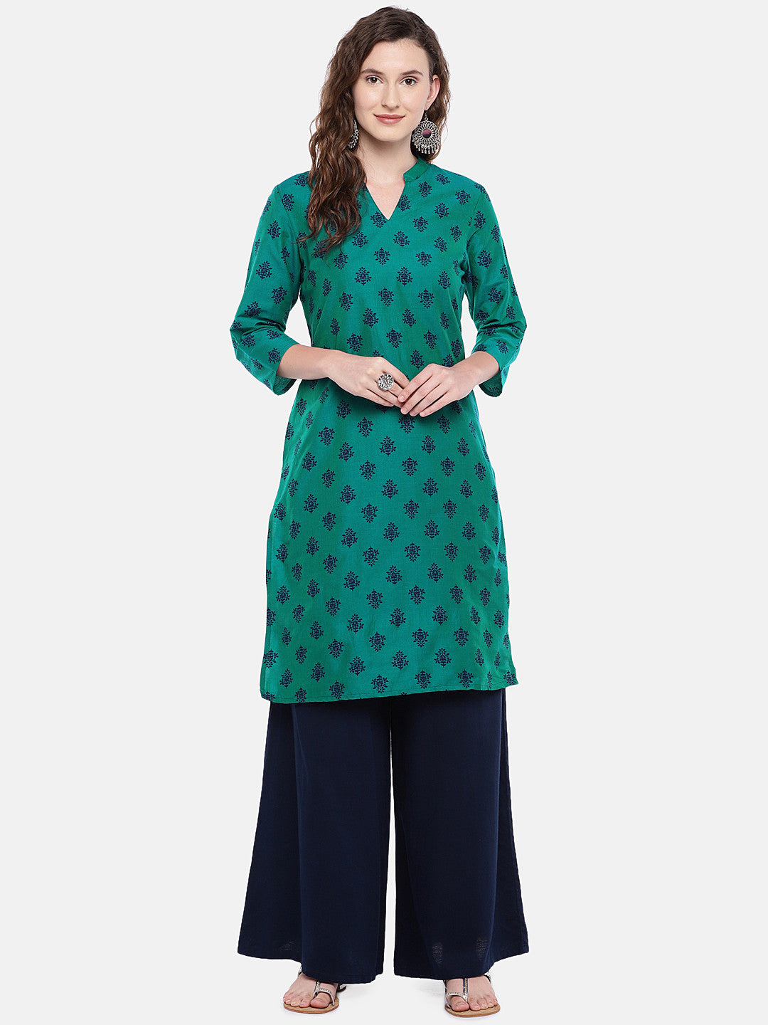 Women Green Printed Straight Kurta-4