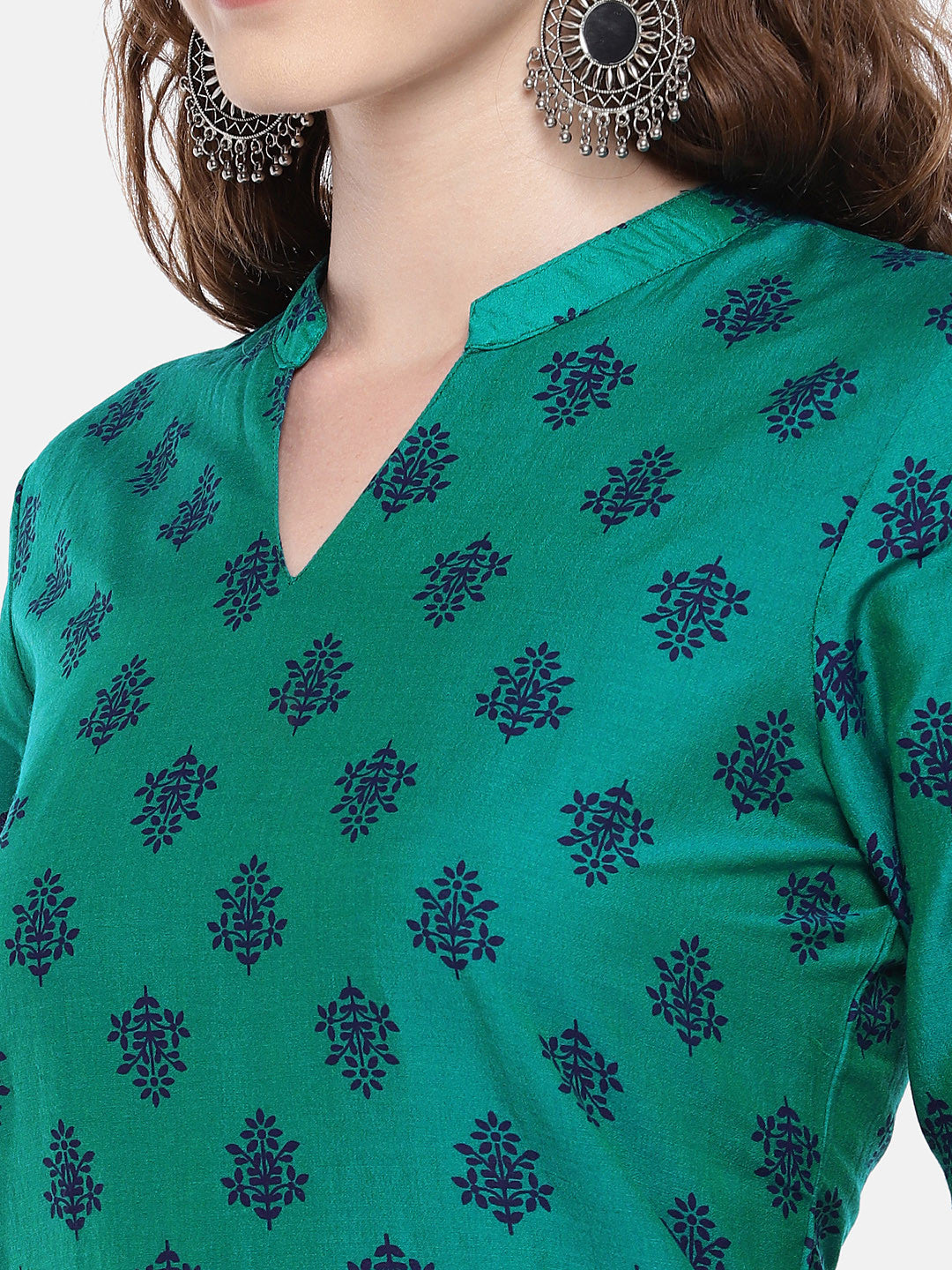 Women Green Printed Straight Kurta-5