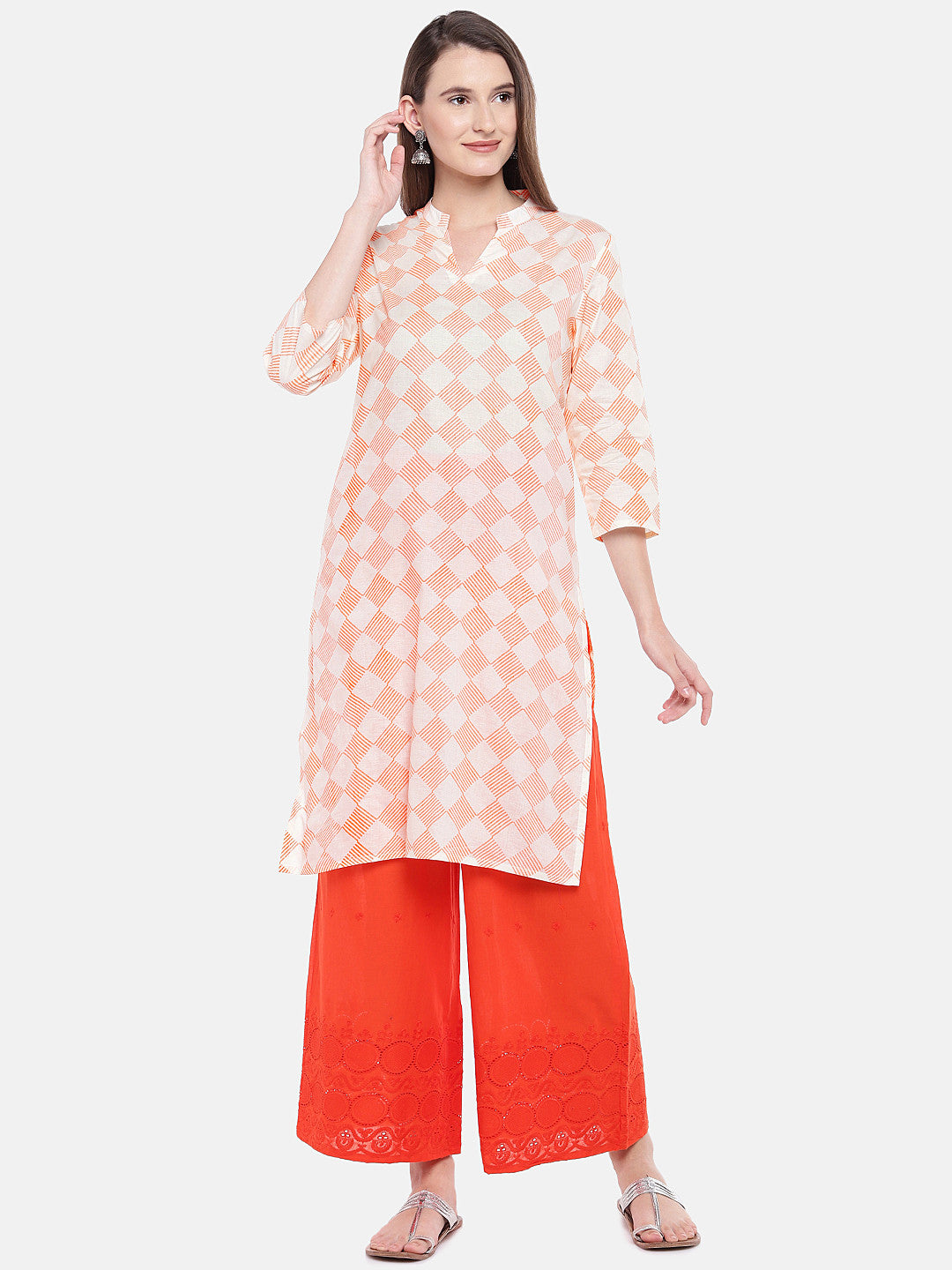 Women Orange Printed Straight Kurta-1