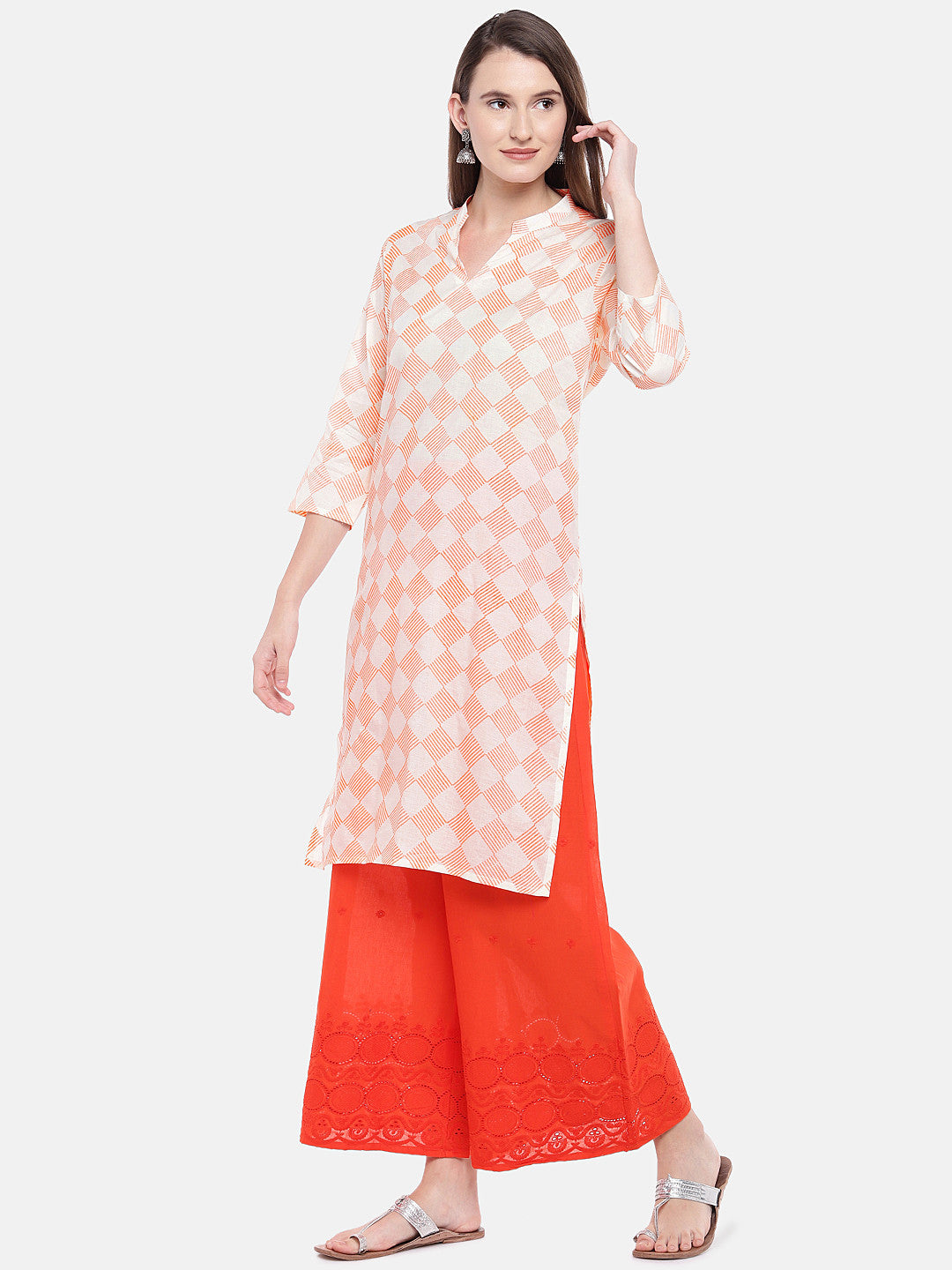 Women Orange Printed Straight Kurta-2