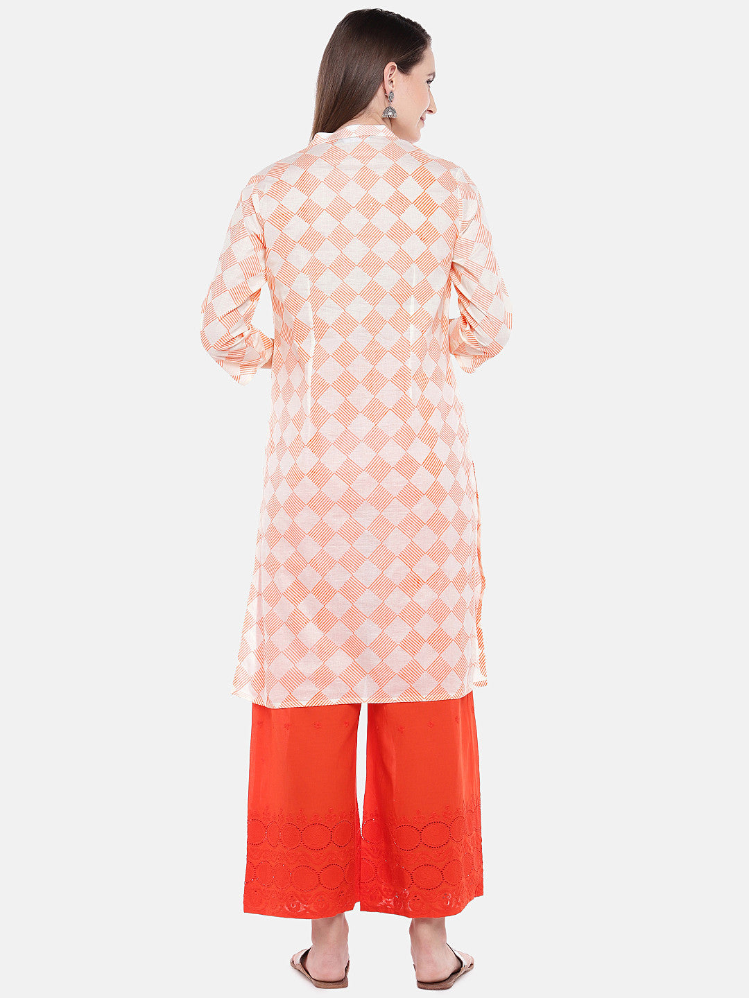 Women Orange Printed Straight Kurta-3
