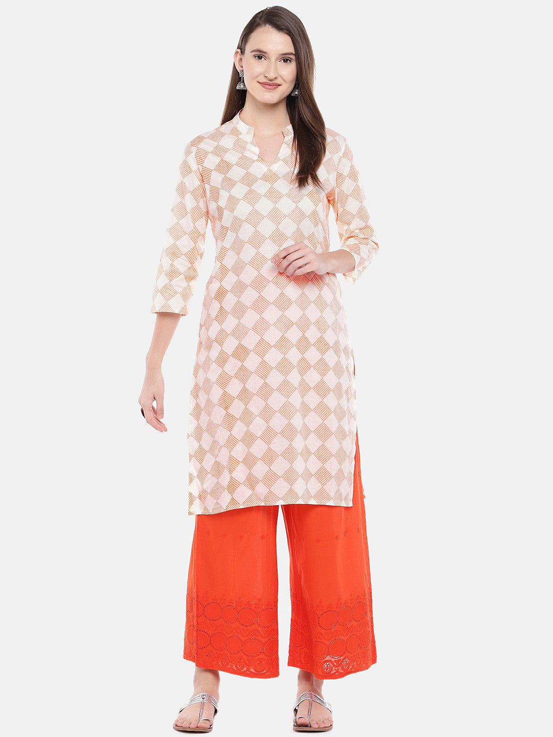 Women Orange Printed Straight Kurta-4