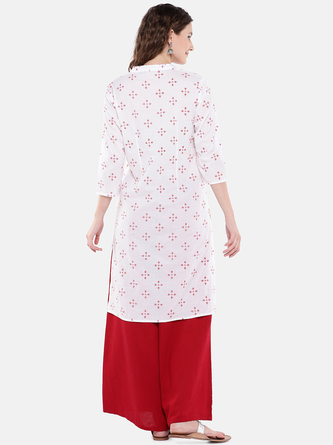 Women White Printed Straight Kurta-3