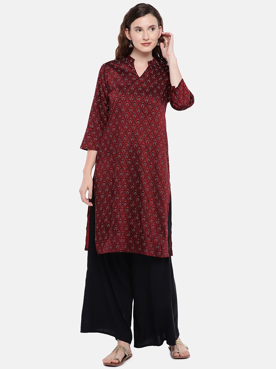 Women Maroon Printed Straight Kurta-1