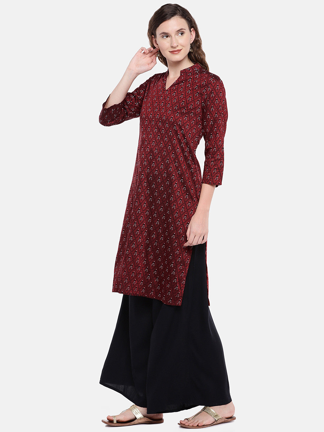 Women Maroon Printed Straight Kurta-2